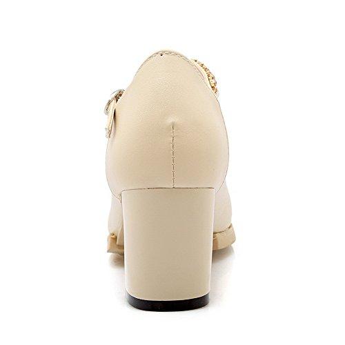 AllhqFashion Damen Mittler Absatz Eingelegt Schnalle Spitz Zehe Pumps Schuhe Cremefarben