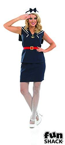 The Good Life Damen Erwachsene Spaß Shack Seemann Mädchen Marine Kapitän Kostüm Kleidung Größe 40-42 (Für Mädchen Seemann-kostüm)
