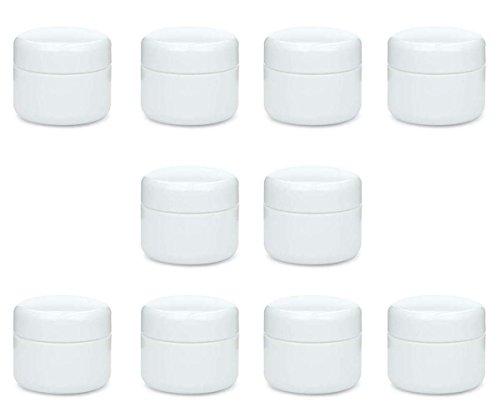 10 x kleine doppelwandige Cremetiegel 5 ml, BPA-frei, made in germany, Salbentiegel, Kosmetiktiegel, Döschen, Dose aus Kunststoff mit Schraubdeckel weiß
