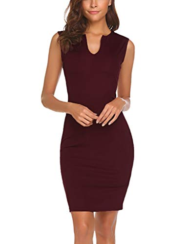 f4bc1c1d43 Women's Summer Bodycon Pencil Dress V-Neck Business Party Dress A-Wine Red  Medium