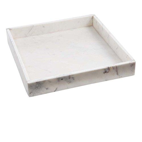 Madam Stoltz Marmortablett - Tablett aus weissem Marmor - Marble Tray - Dekotablett - Serviertablett - quadratisch - Marmoroptik - weiß - 30x30x4cm weiss