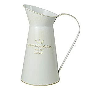 WHHOME Gießkanne, Shabby Chic, verzinktes Finish, rustikaler Krug, dekorativer Blumen-Halter, 27,9 cm hoch weiß