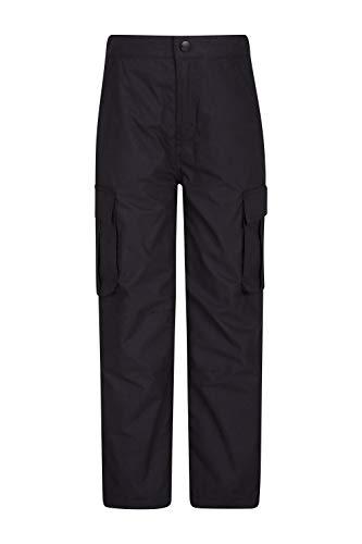 Mountain Warehouse Winter Trek Youth Hose - Schnelltrocknende Kinderhose, 4 Taschen, schrumpffrei und ausbleichsicher - Ideal Für Reisen bei kaltem Wetter, Frühling Schwarz 128 (7-8 Jahre)