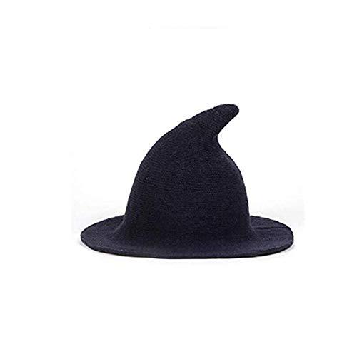 ICYANG Frauen Wolle Sharp Spitz Hexe Hut für Halloween Weihnachten Kostüm Party Masquerade Cosplay Mütze, Moderne Breiter Krempe Cap für Alle Jahreszeiten,Blau (Womens Gute Hexe Kostüm)