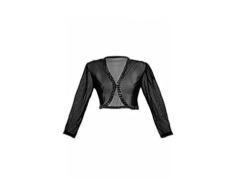 Damen Bolero Schulter Jäckchen schwarz mit Tüll Spitze ideal zum Abendkleid schwarz 38/40