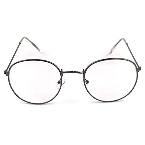 F-blue Metalldruck Runde mit großem Rahmen und Glas-Unisex Dekorative Brille Leichte freie Objektiv-Retro Brillen