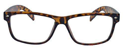 Klassische Nerdbrille schwarz clear lens eckig Damen Herren Streberbrille (Braun)