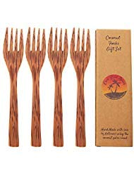 Kokosnuss-Holz-Gabeln, wiederverwendbar, 4 Stück, handgefertigte Holzgabeln, Kokosnussschüssel-Utensilien, umweltfreundlich, Ess-Gabeln, vegane Utensilien