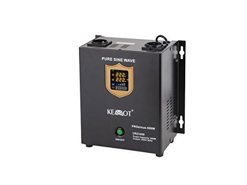 KEMOT urz3409, Alimentation d'urgence Convertisseur Pur Sinus Fonction de Charge, 12 V, 230 V, 800 VA/500 W Noir
