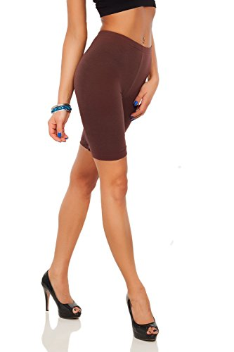 futuro fashion Baumwollleggings 1/2 Länge Overknee Shorts Active Sport Freizeithose LK - Braun, 36