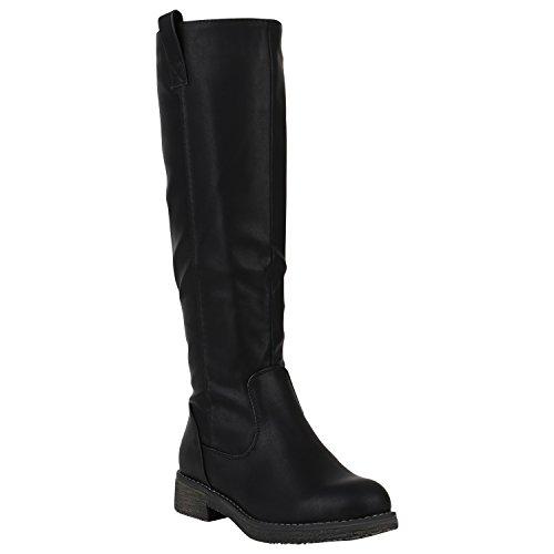 (Gefütterte Damen Stiefel Reiterstiefel Langschaft Boots Schuhe 149761 Schwarz Berkley 39 Flandell)