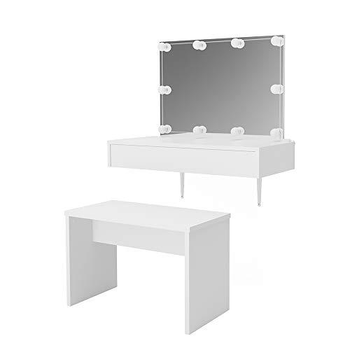 lessia Weiß wandhängend mit Bank - Frisiertisch Kommode Spiegel +++ Schminkkommode mit großen Schubfächer und riesigen Spiegel +++ (mit Bank und LED) ()