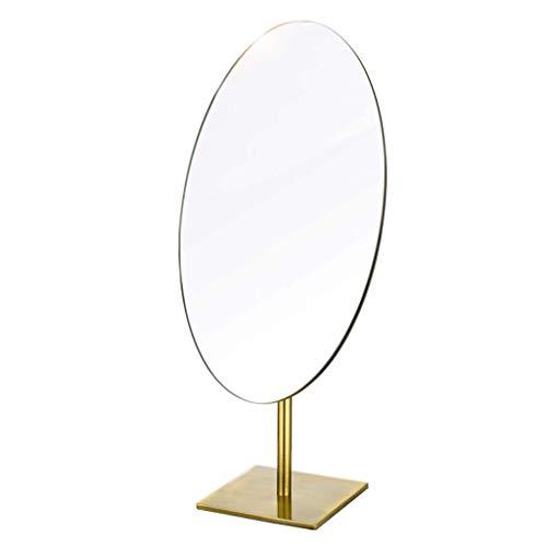Jokeagliey Retro Makeup Mirror, Desktop Single-Sided Hd Mirror, Desktop Portable Simple Beauty Princess Mirror,Metallic