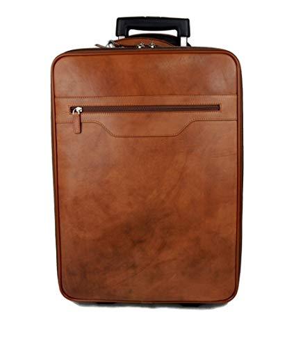 fb1bdf7e2 Trolley rígida maleta de cuero bolso de cuero de viaje hombre mujer marron  bolso de cabina
