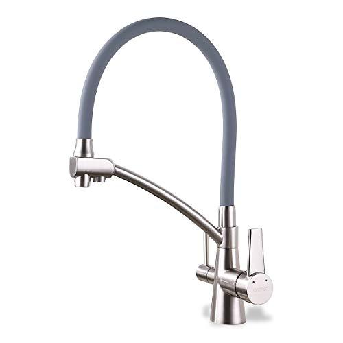GAPPO Wasserhahn für Küche Küchenarmatur mit Brause 3 Wege Wasserhahn Wasserfilter gebürstet Nickel 360 Schwenkbereich, Grau, MEHRWEG Küche Blind
