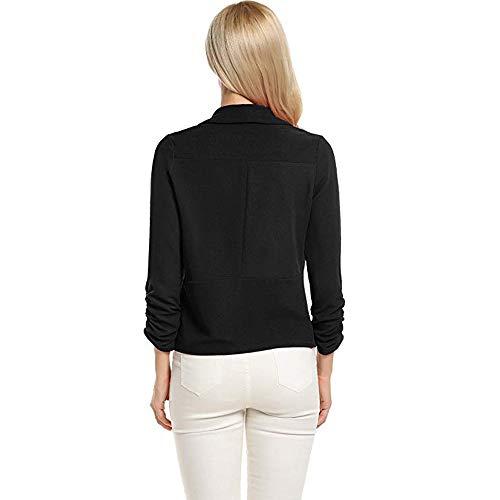 Damen T Shirt, CixNy Mode 2019 Bluse Damen Sommer 3/4 Sleeve Blazer Open Front Short Cardigan Suit Jacket Work Office Coat Oberteil Tops S-XL (Schwarz, Large)