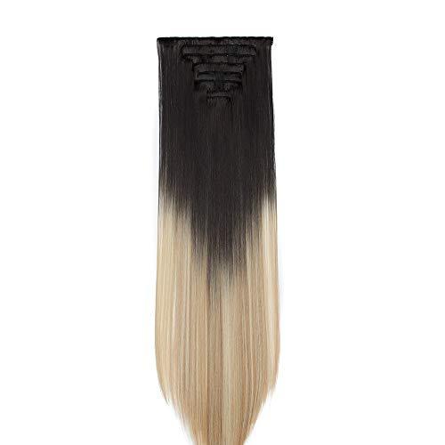 Extension clip capelli lisci lunghi 65cm shatush - 8 ciocche extensions con clips posticci hair sintetici full head da donna effetto naturale - nero ombre biondo chiarissimo & sabbia