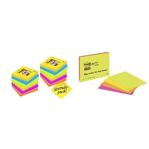 Post-it 654SR9+3 Haftnotiz Super Sticky Notes Promotion (76 x 76 mm) 12 Blöcke (90 Blatt) ultragelb, blau, pink, neongrün, orange & Post-it