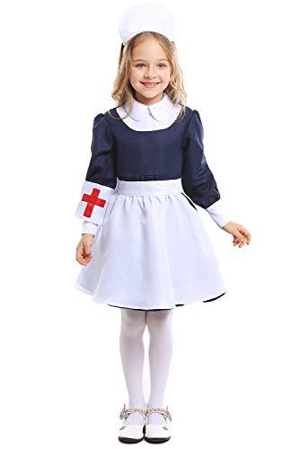 Kinder Mädchen Vintage Krankenschwester Kostüm Cosplay Kleid Blau S