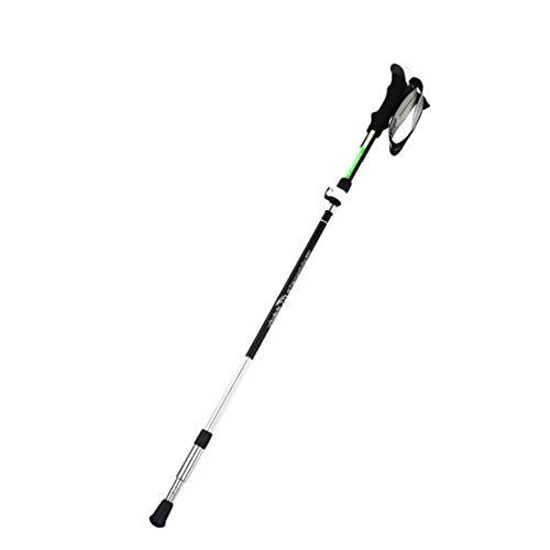 HIOD Aluminiumlegierung Wanderstock Stick Gehen Wandern Tragbar Faltbar Rod 130 cm Für Camping Bergsteigen,Blackgreen,2PC