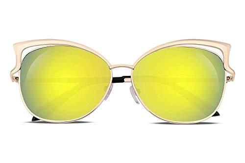 Tclothing Sexy Cateye Frauen Sonnenbrille Metallrahmen Flache Verspiegelte Linse B1980
