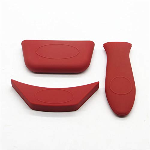Silicone Hot Handle Holder (Set of 3), Hot Mitts, for Cast Iron Skillets, Pans, Frying Pans & Griddles, Metal and Aluminum Cookware Handles - Sleeve Grip, Handle Cover(Red)