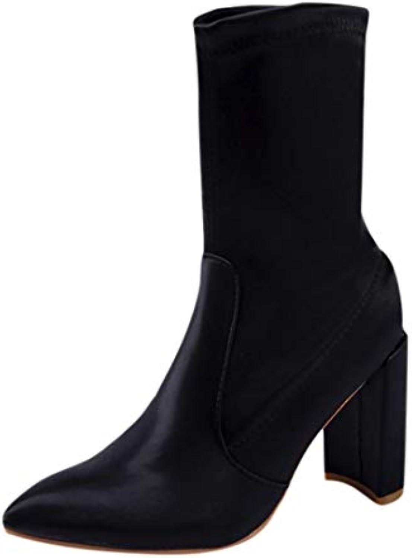 Zapatos Mujer,Mujeres Mujeres Tobillo Botas Bloque talón elástico Tire de Zapatos sólidos Martin Botas