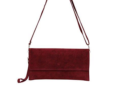 AMBRA Moda Pochette da giorno da donna Borse a mano clutch in vera pelle scamosciata WL811 Bordeaux