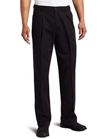 Dockers Men's Comfort Waist Khaki D3 Classic Fit Pleated Pant, Black, 36 32