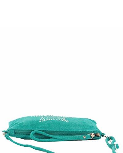 histoireDaccessoires - Pochette Cuir Velours Femme - PO140821U-Aldo Vert Turquoise