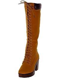 Angkorly - Chaussure Mode Botte Rangers Motard Cavalier Femme Lacets  matelassé Talon Haut Bloc ... 30d767f623a5