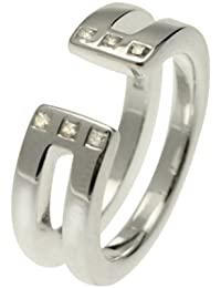 White Ice London Silver Ring with Diamonds DR053 Open Double Bar Ring with Diamonds