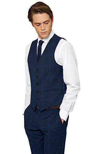 Preisvergleich Produktbild Moss London Herren Extra Slim Fit Mittelblau Kariert Anzug Weste UK 42R