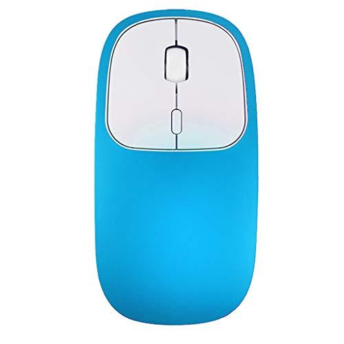 Hengzi Wiederaufladbare 2,4-GHz-Bluetooth-Funkmaus mit Stummschaltung aus Zwei optischen Mäusen (Blau)