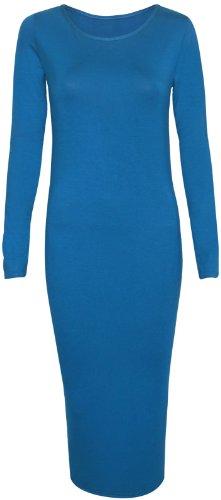 Damen Kleid Einfarbiges Langarm Runder U-Ausschnitt Figurbetontes Weiches Stretch Bleistift Jersey Langes Midi Kleid Blaugrün