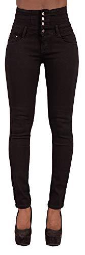 Glook Mujer Pantalones Vaquero Skinny Push Up Pantalones Elástico Jeans Cintura Alta (36, Negro)