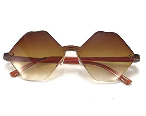 Epinki Unisex Polarisiert Sonnenbrille Sechseck Mode Brille UV400 Schutz | Randlos | für Outdoor Sport, Reise - Braun