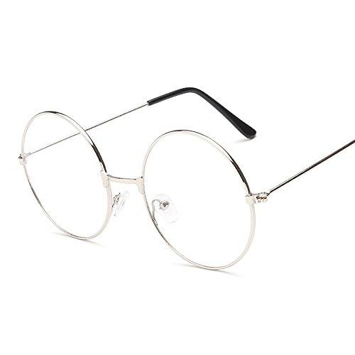Runde Brille mit Metallrahmen, Unisex, Sommer-Retro-Look, Klarglas, verspiegelt, Geek-Stil mit großen Gläsern