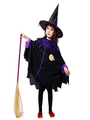 BaZhaHei Kleinkind Kinder Baby Mädchen Halloween Kleidung Kostüm Kleid Party Mantel + Hut Outfit (2-3T, Schwarz)