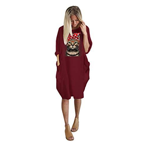 Übergröße Kostüm Viktorianischen - WERVOT Kleider Übergröße Frauen Nette Katze Ohr Hoodie Damen Cartoon Cat Print Lange Ärmel Sweatshirt Frauen Tasche Unregelmäßige Top Tunika(Wein,M)
