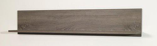 Anbauwand in Sonoma Eiche Dunkel-Nachbildung, bestehend aus: 2 Vitrinen, Sideboard, Wandbord, Gesamtmaße: B/H/T ca. 345/200/40 cm - 2