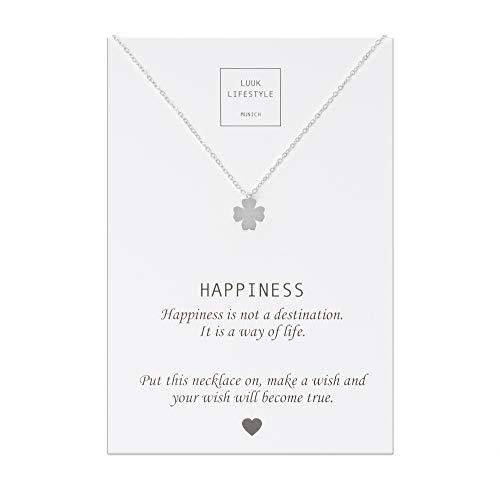 tahl Halskette mit Kleeblatt Anhänger und Happiness Spruchkarte, Glücksbringer, Damen Schmuck, silber ()