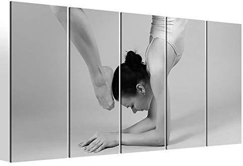 Leinwandbilder 5 teilig XXL 200x100cm schwarz weiß Gymnastik training Sport Kat8 Turnen Ballett Druck auf Leinwand Bild 9BM2256
