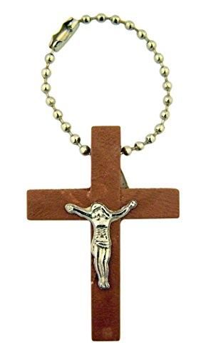 Holz Kreuz Kruzifix auf Pop Bead Schlüsselanhänger, 31/10,2cm