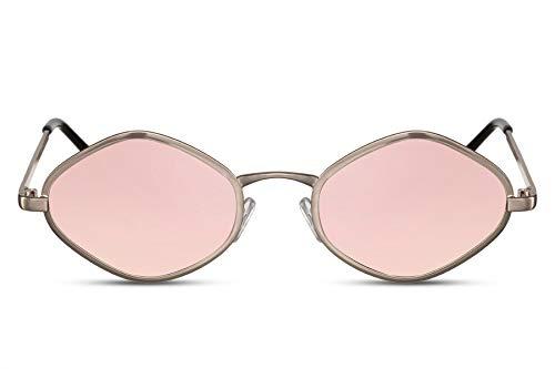Cheapass Sonnenbrille Rosé-Gold Verspiegelt Diamant Hexagonal Klein Schmal Rund UV-400 Designer-Brille Metall Damen Frauen