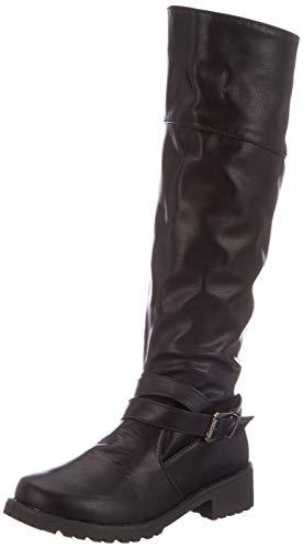 Anokar Stiefel Damen Leder Flach Reißverschluss Overknee Langschaft Stiefel Winter Reitstiefel Casual Elegante Schuhe Fashion. schwarz, Gr.38, Herstellergrösse 240