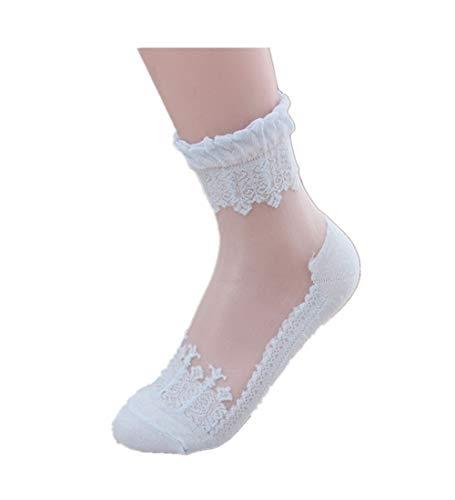 KPILP 1 Paar Damen Sneakersocken Weiche Ultradünne Transparente Strümpfe Elegante Schöne Kristallspitze Elastische Kurze Socken Freizeitsocken,Blau1