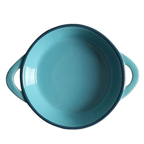 Binaural Suppenschüssel Salatschüssel Europäischen Dessertschüssel Zuckerdose Home Essen Schüssel Keramik Geschirr (Color : BLUE, Size : 17.7 * 14CM) -
