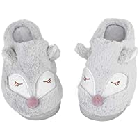 Happyyami Warm Slippers Plush Slippers Non Slip Slippers Cozy Fox Slippers for Christmas Holiday Winter Grey Size 38/39