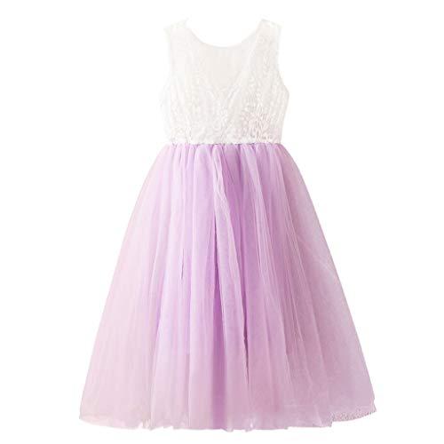 Alwayswin Baby Kinder Mädchen Ärmellose Spitze Patchwork Tüll Kleid Prinzessin Kleider Mode Party langes Kleid aus Mesh mit Spitzeneinsätzen für Kinder Fairy Princess Dress